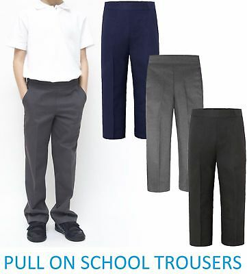 Boys Kids Pullup Trousers Children School Uniform Half Elasticated Pants 2-9Year