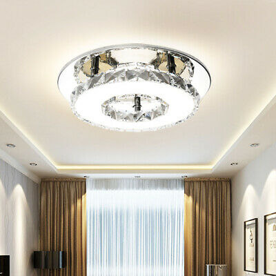 Crystal LED Light Modern Round Ceiling Chandelier Lamp Pendant Living Room