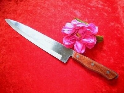Vintage Chefs Knife Maxam Precision Hollow Ground Stainless Wooden Handle Japan