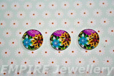 2 x Bright Floral 12x12mm Glass Cabochons Cameo Dome Flower Rose Tropical