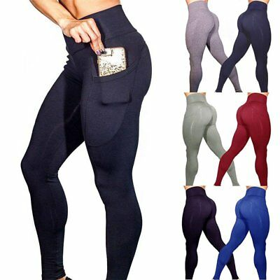 Women High Waist Slim Yoga Running Pants Stretchy Pants Workout Fitness Leggings