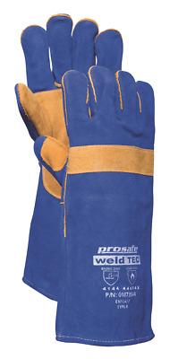 Prosafe LEATHER WELDING GLOVES 1-Pair Large, Thumb & Knuckle Guard BLUE
