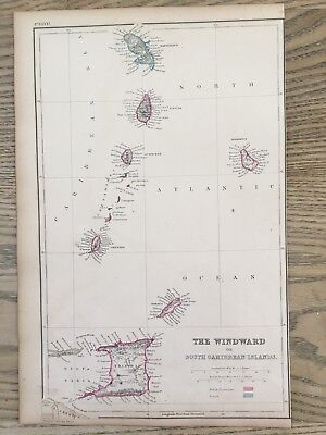 1859 The Windward Islands Caribbean Hand Coloured Antique Map By W.g. Blackie