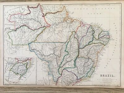 1859 Brazil Hand Coloured Antique Map By W.g. Blackie