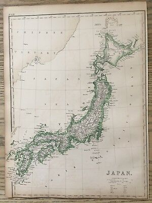 1859 Japan  Hand Coloured Antique Map By W.g. Blackie