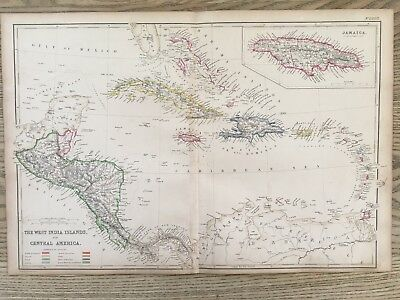 1859 West Indies & Central America Hand Coloured Antique Map By W.g. Blackie