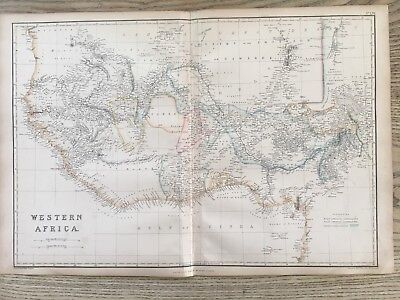 1859 West Africa Hand Coloured Antique Map By W.g. Blackie
