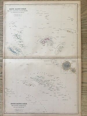 1859 South Pacific Islands Hand Coloured Antique Map By W.g. Blackie