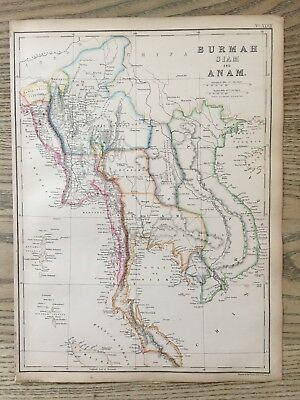 1859 Southeast Asia  Hand Coloured Antique Map By W.g. Blackie