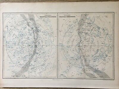 1858 Celestial Star Chart  Original Antique Map A & C Black 160 Years Old