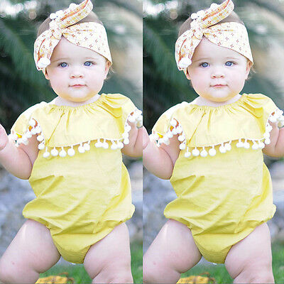 Newborn Kids Baby Girls Yellow Bodysuit Romper Outfits Jumpsuit Sunsuits Clothes