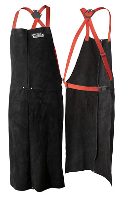 Red Line LEATHER WELDING APRON Adjustable Harness, One Size Fits All BLACK