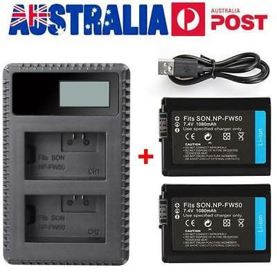 AU ! NP-FW50 LCD Dual Battery Charger + two Batteries Set for Sony NEX-5A/5C/5HB