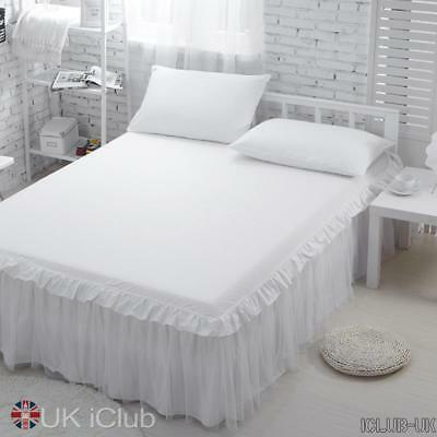 Wrap-Around Queen/ King Bedskirt in pizzo IN MANO Ruffle Bed Skirt bianco Avorio