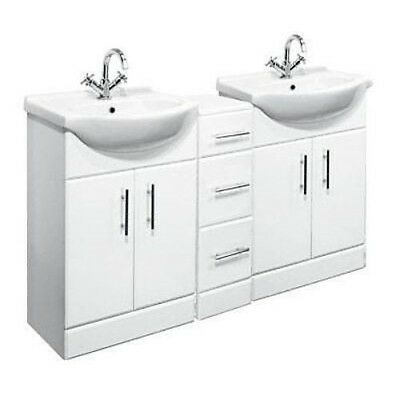 1400mm White Gloss Vanity Cabinet Units, Basin Sink & Drawer Cupboard Unit