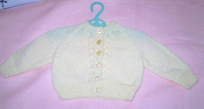 Handmade Knitted Baby Cardigan in 4ply baby yarn J410