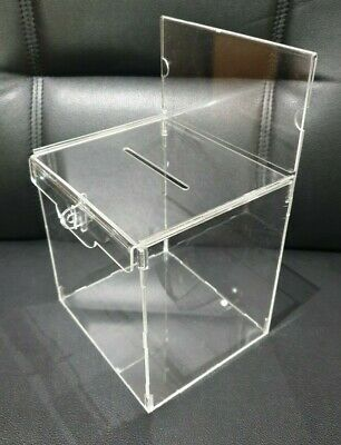 Lockable Donation Box-Ballot Box-Suggestion Box-Tips-FB, Clear Acrylic Rear door