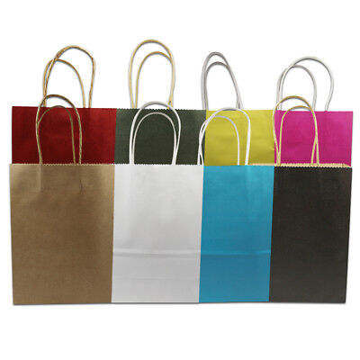15x21+8cm Colorful Kraft Paper Shopping Bag Handle Party Gift Merchandise Pouch