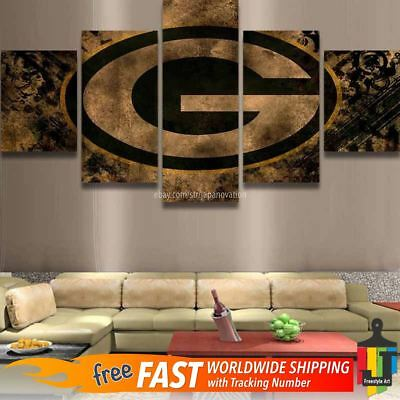 Green Bay Packers Retro 5 pcs Painting Canvas Wall Art Poster Home Decorative