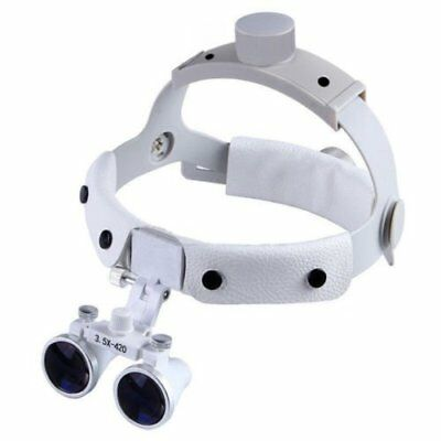 Dental 3.5X420mm Headband Surgical Medical Lamp Binocular Loupes DY-108 White