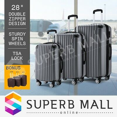 3x Travel Luggage Suitcase Lightweight Trolley Set Carry On Bag Hard Case-Grey