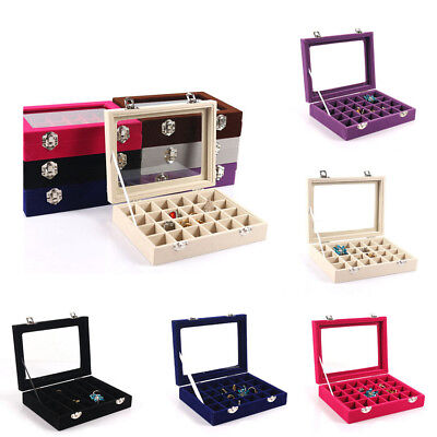 NEW Box Holder Storage Glass Jewelry Velvet Case Display Earring Organizer Ring