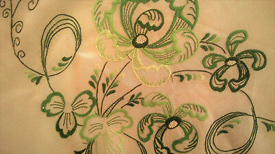 Vintage ~ Antique cream SILK HAND ROLLED EMBROIDERED SCARF SQUARE