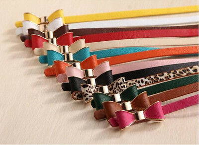 1pc Girl Bow Long PU 2017 Lady 16 Colors New Belt Faux Leather Lank Cute