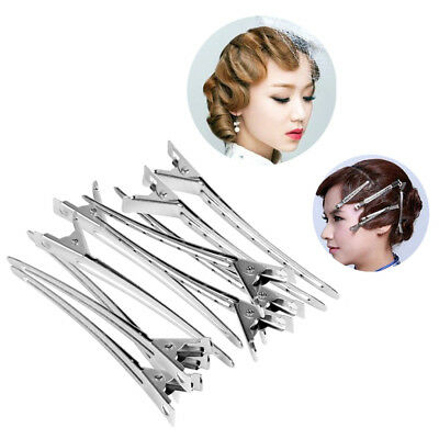 12PC Set Silver Clip Handle Salon Invisible Hair Clip Duck Hair Clips Hairdress