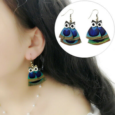 Jewelry Party Girl Fashion 1Pair Owl Feather Earrings Women's Blue Earrings Gift