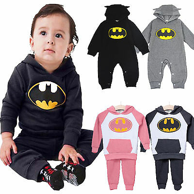 Newborn Baby Boys Girls Batman Hoodie Tops Pants Romper Outfits Toddler Clothes