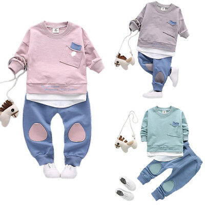 Toddler Baby Boys Kids Clothes Casual Long Sleeve T-shirt Tops+Pants Outfits Set