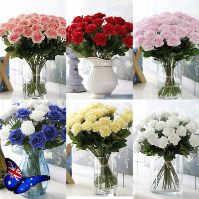 10/20pcs Real Touch Artificial  Rose Flower Bouquet Wedding Home Decor DIY