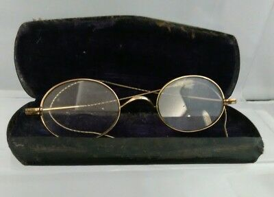 Antique Pair of Reading Glasses & Case, Collectable Lightweight Spectacles