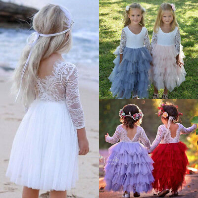 US Toddler Kid Baby Girl Lace Tulle Backless Party Bridesmaid Pageant Tutu Dress
