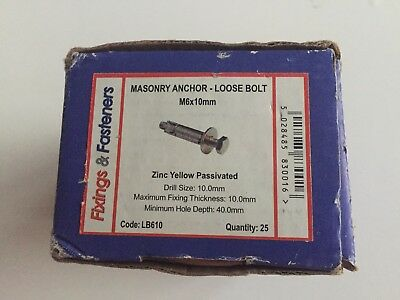 Masonry Anchor- Loose Bolt Zinc Yellow Passivated M6 x 10mm Box 25