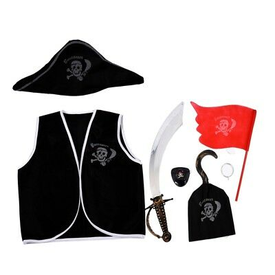 7 Pieces Pirate Makeup Set for Children Costume Y8Q7