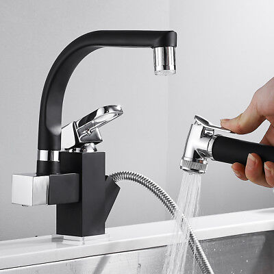 360°Swivel Spout LED Kitchen Sink Mixer Taps With Pull Out Bidet Spray Tap Black