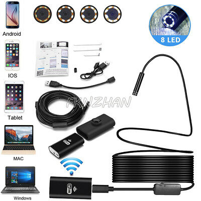8MM 8 LED Wireless Endoscope WiFi Borescope Inspection Camera For iPhone Android