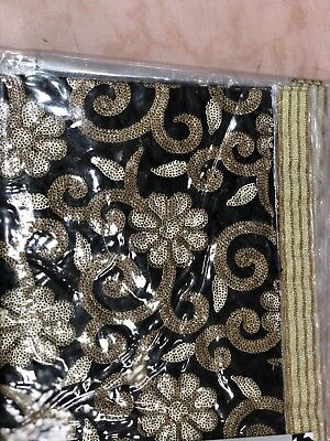 Handmade Embroidery Wedding Kids Table Cover Velvet Runner Sequin In PVC Black