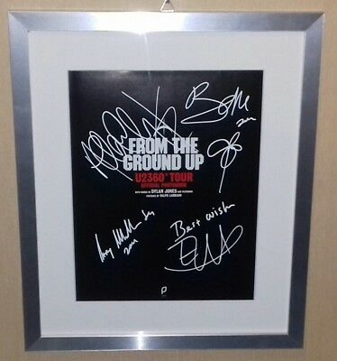 U2 From The Ground Up Fully Signed Page In Frame - Nice Autograph!