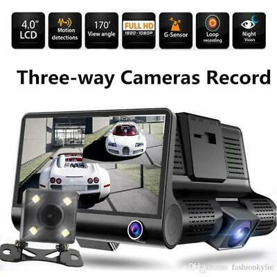 "4"" Dual Lens 1080P HD Car DVR Rear view Video Dash Cam Recorder Camera G-sensor"