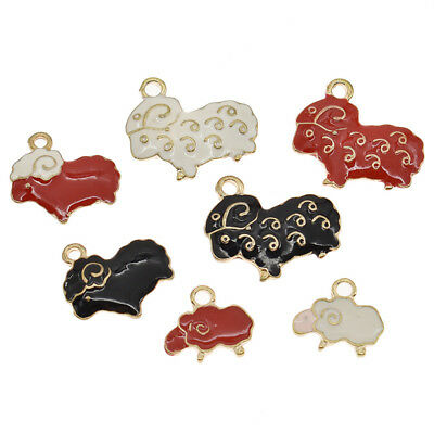 5/10 Pcs Colorful Enamel Sheep Pendants Cute Charms for Necklace Jewelry Making