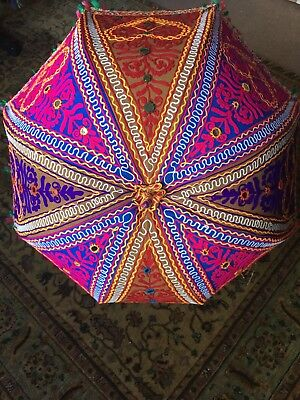 Pinks, Browns & Blue Handmade Recycled Embroidered Indian Large Umbrella 88 Cm