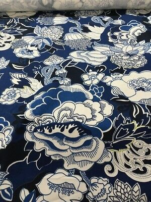 "Duralee Kiji Navy Cotton twill, Home Dec , Drapery Fabric 54"" By The Yard"