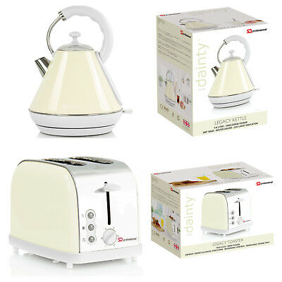 Cream 1.8L Electric Cordless Kettle Swivel 2 Wide Slot Slice Bread Toaster Set
