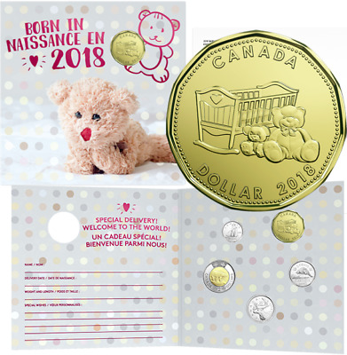 2018 Baby Born Gift 5-Coins Set: $2, $1, 25cent, 10cent, 5cent