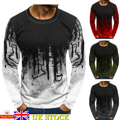 Men Camo Long Sleeve Tee Longline Muscle Fit Tops Casual Designer T-Shirt Blouse