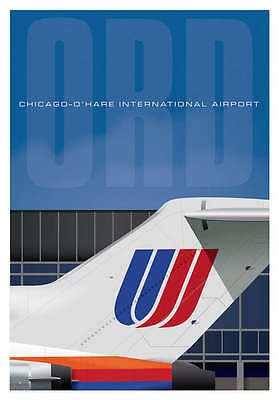 "Ja027 Ord Airport United Tail Poster Art Print 14"" X 20"" By Artist Chris Bidlack"