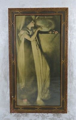 Antique Art Nouveau 1920's Lithograph Print of Beautiful Woman 28 x 14 Isabella